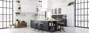 The black and white Nordic style kitchen will add a touch of elegance to your home.