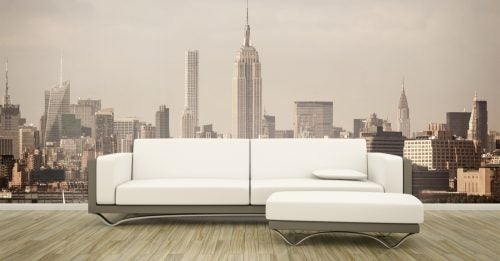 A stylish wall mural of New York is used