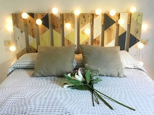 You can decorate a bed headboard made with timber slats with lights