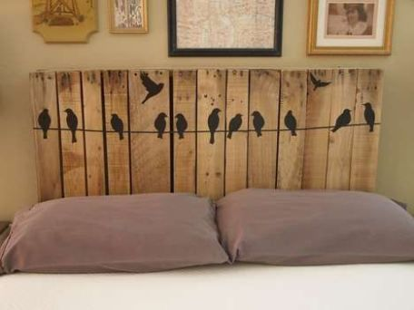 You can decorate a bed headboard made with timber slats with decorative vinyls