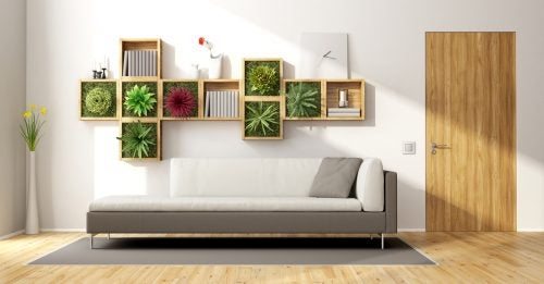 A stylish wall using a vertical garden