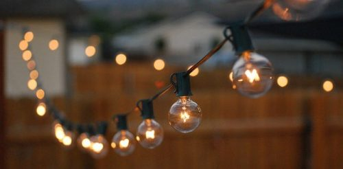 Strings of light bulbs can add to the ambiance of the room