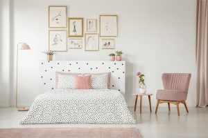 Creating a feature wall is a great way to decorate rooms with white walls.