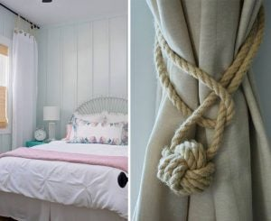 Using rope tiebacks for your living room curtains will look great with the rustic style.