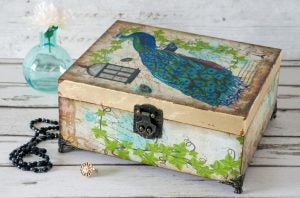 Boxes are often decorated using decoupage.