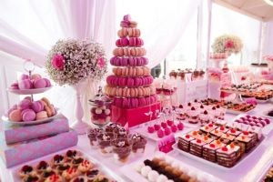 French desserts like petit fours and macarons are perfect buffet desserts.