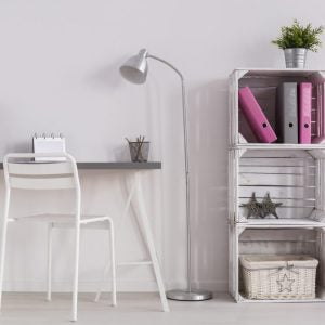 Floor work lamps will help you save space.