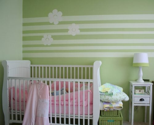 Green monochrome baby room
