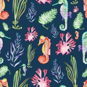 Marine life animal motifs use bright and beautiful colors.