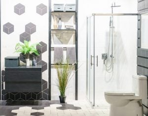 Using parallel lines in the layout of your small bathroom will make it seem bigger.