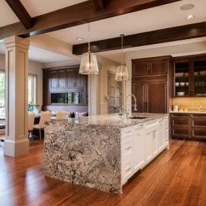 Gray and white blanco Castilla granite countertops are subtle and elegant.
