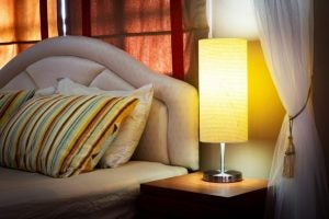 The dimmable table lamp is perfect if you share a bedroom.