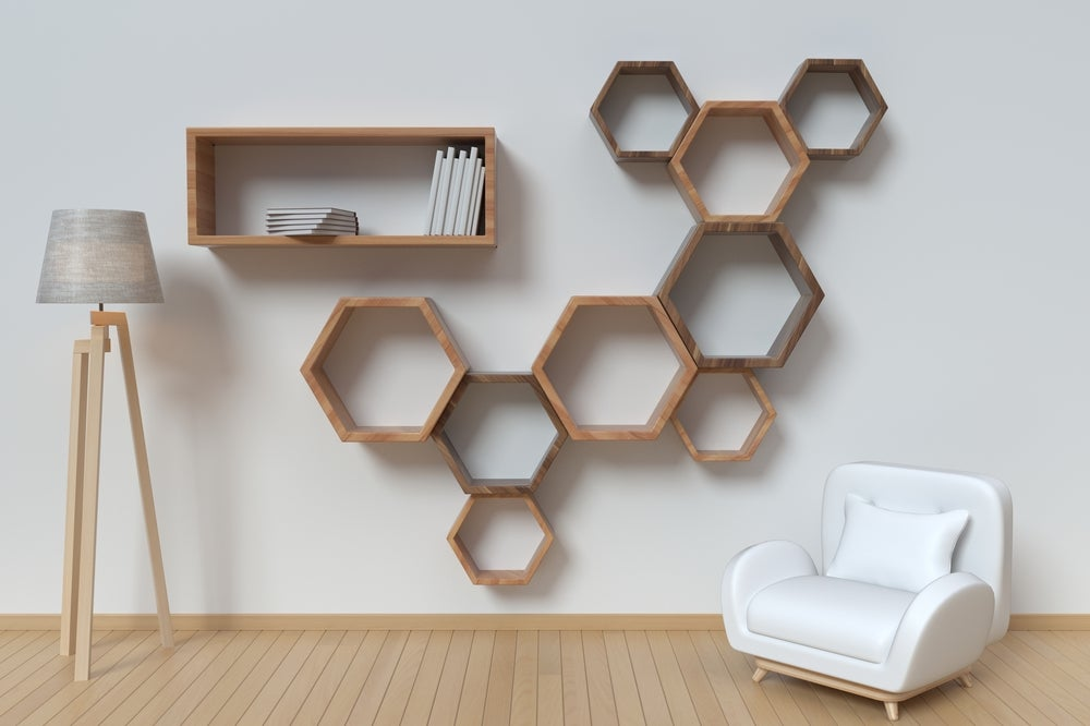 Geometric shelving is another type of original shelving.