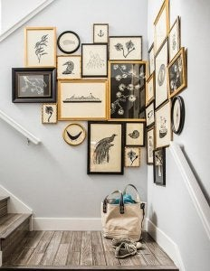 If you have a large wall, you can use it to display lots of frames of all different sizes.
