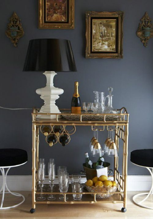 Mini bar serving cart