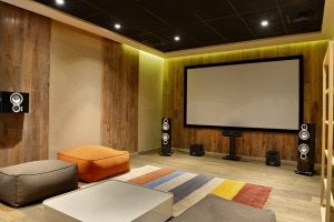 A portable screen is great if your home movie theater is in your living room.