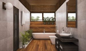 "For rectangular bathrooms, use the linear ""battery"" layout with the largest elements at the back."