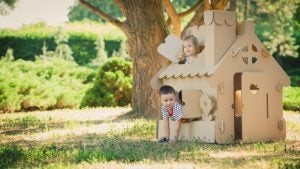 Wooden garden sheds are perfect spaces for children to play in.