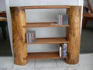 Tree trunks are great for making rustic bookshelves.