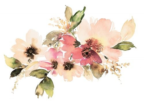 Add a touch of flowery color by using watercolors in your decor