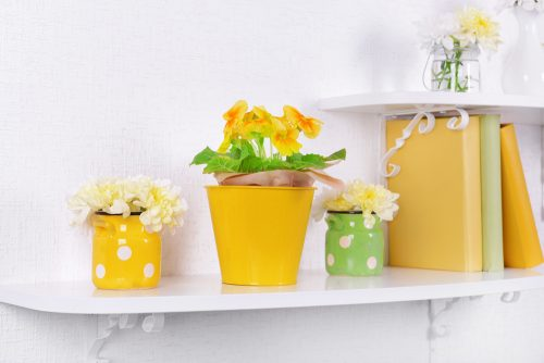 Use shades of yellow such as Primrose Yellow for feature accessories in spring decorating