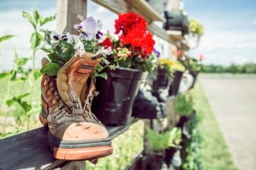 Reuse Your Boots and Sneakers as Flower Pots