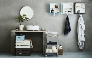 Bathroom carts are usually used for keeping toilet roll, towels and make up.