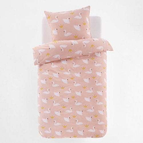 Pink comforter with white swan design
