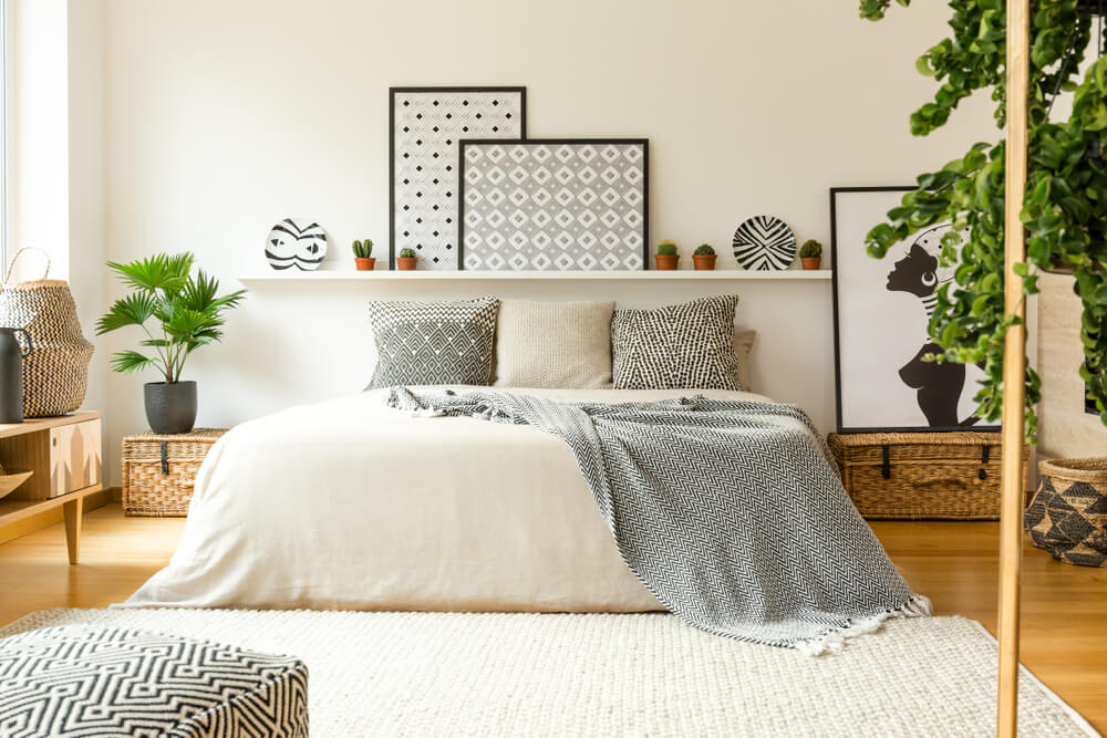 light colored bedroom