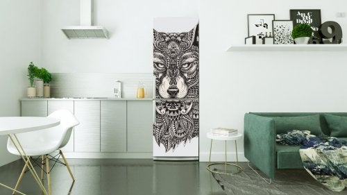 Choose a design that's right for your decor when decorating your fridge with vinyls