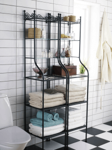 Glass shelves can have iron, aluminum or wooden bases.