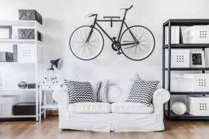"You can create a more ""industrial"" style metal bicycle rack for a modern look."
