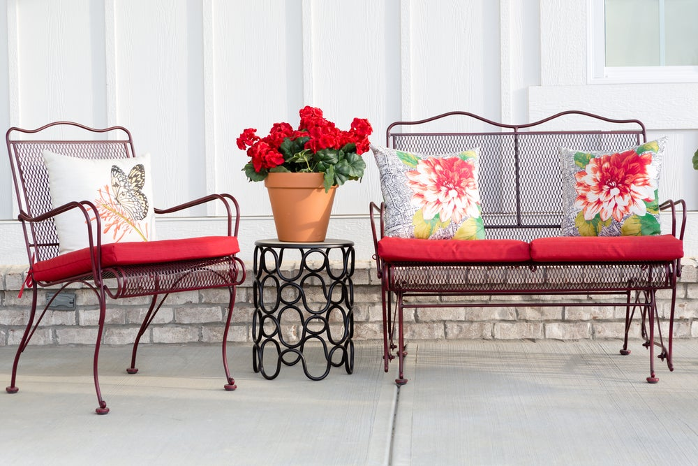 Metal can be a good option for outdoor sofas.
