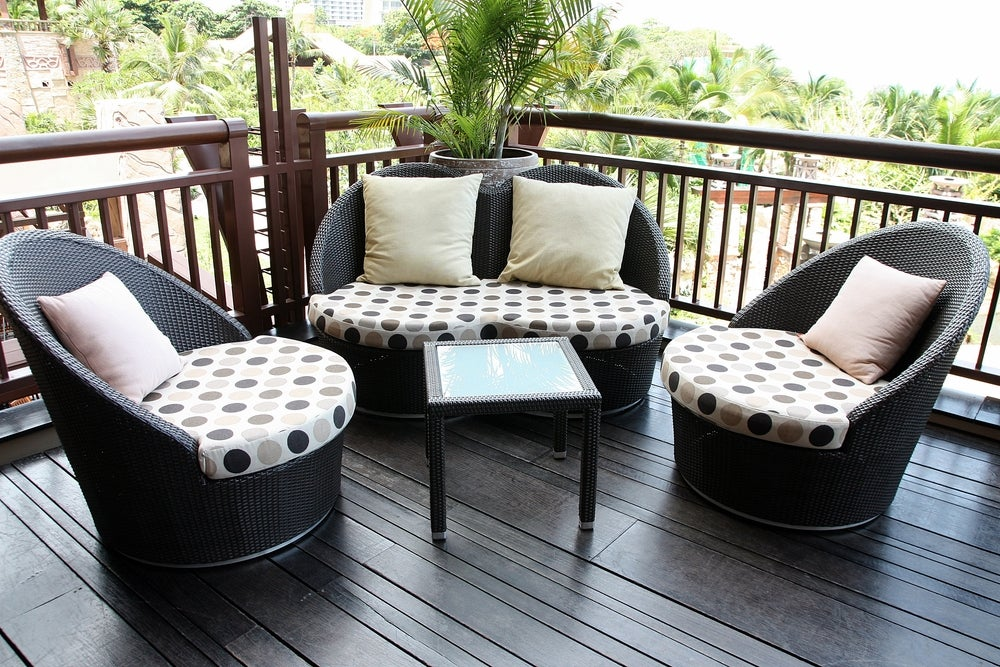 Wicker can be a good option for outdoor sofas.