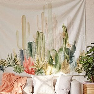 polyester tapestry with cacti on it