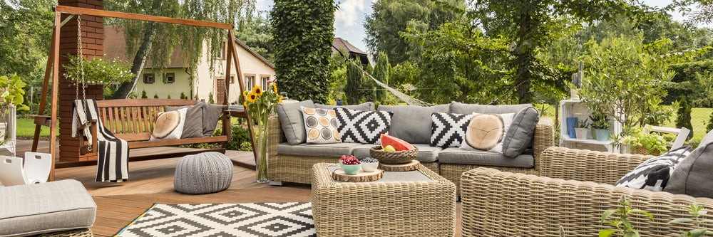 A sofa swing can be a fun option for outdoor sofas.