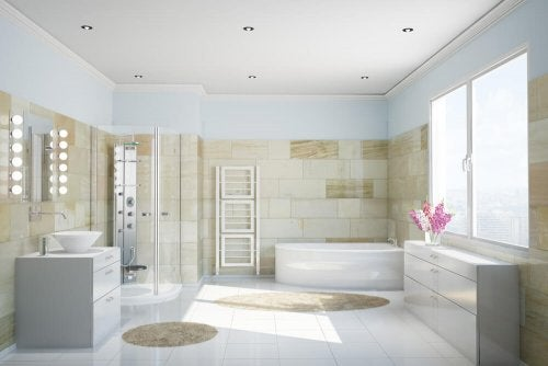 Tiled floors are great in wet areas such as the bathroom because cleaning is easy
