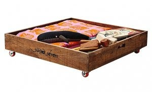 Wooden trays are perfect if there isn't much space under your bed.