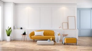 A mid century modern style should include timber floors, furniture with simple shapes and plants