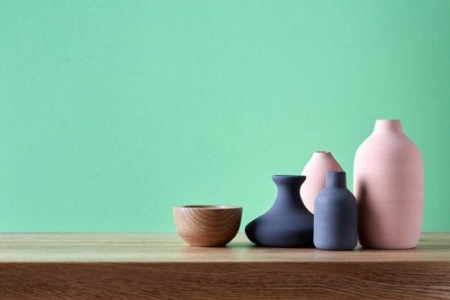 You could decorate your shelves with jars of different colors