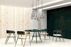 dining room with hanging lamps