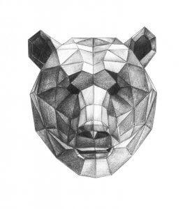 geometrical pencil sketch of a bear