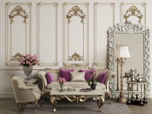 Traditional boiserie paneling was often decorated with gilding.