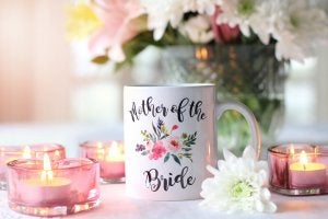 mug with flowers and words on it