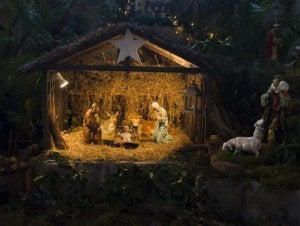 A nativity scene can be made from almost any material.