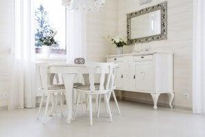 rectangular mirror in dining room