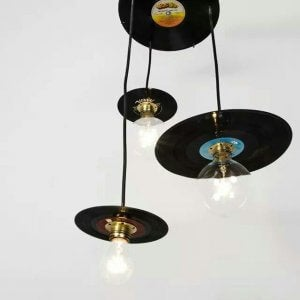 vinyl records as lightbulb holders