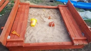A sandbox is a great addition to any children's playground.