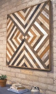 wood wall art with diagonal patterns