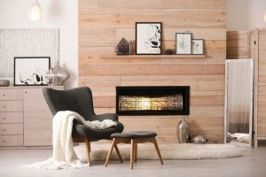 A modern rustic home with a fireplace.